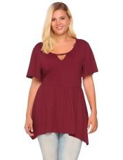 Toko Diskon Besar Wanita Plus Ukuran Casual Keyhole Lengan Pendek Asimetris Peplum Top T Shirt Merah Gelap Intl Lengkap Tiongkok