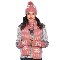 Big Discount Women Warm Knitted Shawl Wrap Neck Stole Long Scarf Hat Gloves Set (Pink)