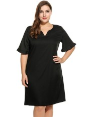 Beli Big Discount Women S Notch Neck Flare Sleeve Solid Casual Shift Dress Plus Size Black Intl Online Terpercaya