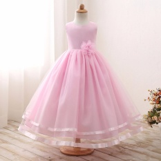 Big Girl Pink Princess Dress untuk Pernikahan Party Flower Girl Tulle Gaun Resmi Anak-anak Party Costume Baby Infant Lovely Outfits- Pink-Intl