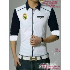 Big Promo #Xj1 Kemeja Real Madrid White Navy. Good Quality - Xlnspu