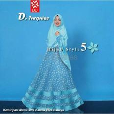 BIG SALE QUEEN Baju Muslim Jersey Bunga Style 5 Syari Baju Muslim Pesta Biru