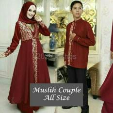 BIG SALE QUEEN Baju Muslim Maxi Couple Mewah Couple Baju Muslim Dress XL Baju Muslim Sarimbit Maron