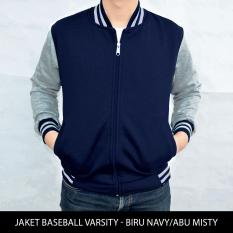 [BIG SIZE] Jaket Baseball Varsity XXL-XXXL - Biru Navy Abu Misty