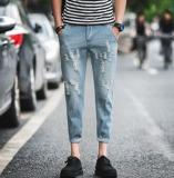 Review Toko Ukuran Besar Pria A Korea Ramping Panjang Kasual Denim Jogger Celana Murni Warna Biru Muda Intl Online