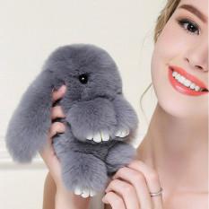 Ukuran Besar Rex Kelinci Asli Asli Bulu Charm Cute Pompon Mainkan Kelinci Mati Mainan Boneka Monster Untuk Keychain Mobil Tas Hiasan Warna Abu Abu Intl Terbaru