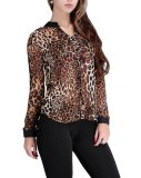 Beli Bigood Wanita Chiffon T Shirt Leopard Tombol Lengan Panjang Atasan Blus Internasional Online Tiongkok