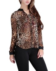 Beli Bigood Wanita Chiffon T Shirt Leopard Tombol Lengan Panjang Atasan Blus Internasional Online Murah