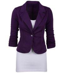 Bigood Womens Casual Bekerja Panjang Lapel Lengan Pendek Blazer Suit Jaket Purple (int: XXL) (luar Negeri) -Intl