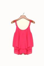 Bilayer Sleeveless Shirt Atasan Sifon-Hot Pink