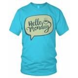 Harga Bils Kaos T Shirt Distro Hello Monday 01A Biru Muda Bils Baru