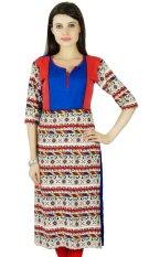 Bimba Womens 3/4 Lengan Rayon Kurta Regular Fit Dicetak Kurti India Pakaian Kasual, Multicolor-Intl
