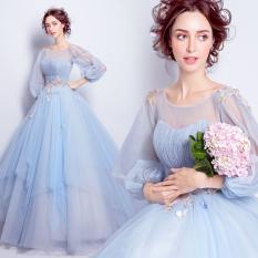 Ongkos Kirim Biru Bagian Panjang Dari Makan Malam Pernikahan Pertemuan Tahunan Gaun Pengantin Gaun Toast Pakaian Biru Biru Di Tiongkok