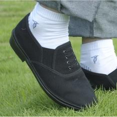 [Waktu yang lambat '] yang tak bisa dijelaskan merasa Schick tidak memakai kaki Sepatu Kain Hitam Sepatu kulit imitasi cara buat bekerja Sepatu