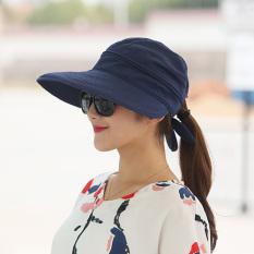 Bisa Dilipat Pelindung Terik Matahari Musim Panas Topi Topi (Biru Tua)
