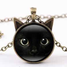 Black Cat Face Time Gemstone Necklace Cat Ear Pendant Sweater Chain Necklace Dark Bronze 50cm - intl