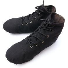 Hitam Warna Orang Dewasa Anak Canvas Ballet Senam Latihan Yoga Lembut Sepatu Tari I112-Intl