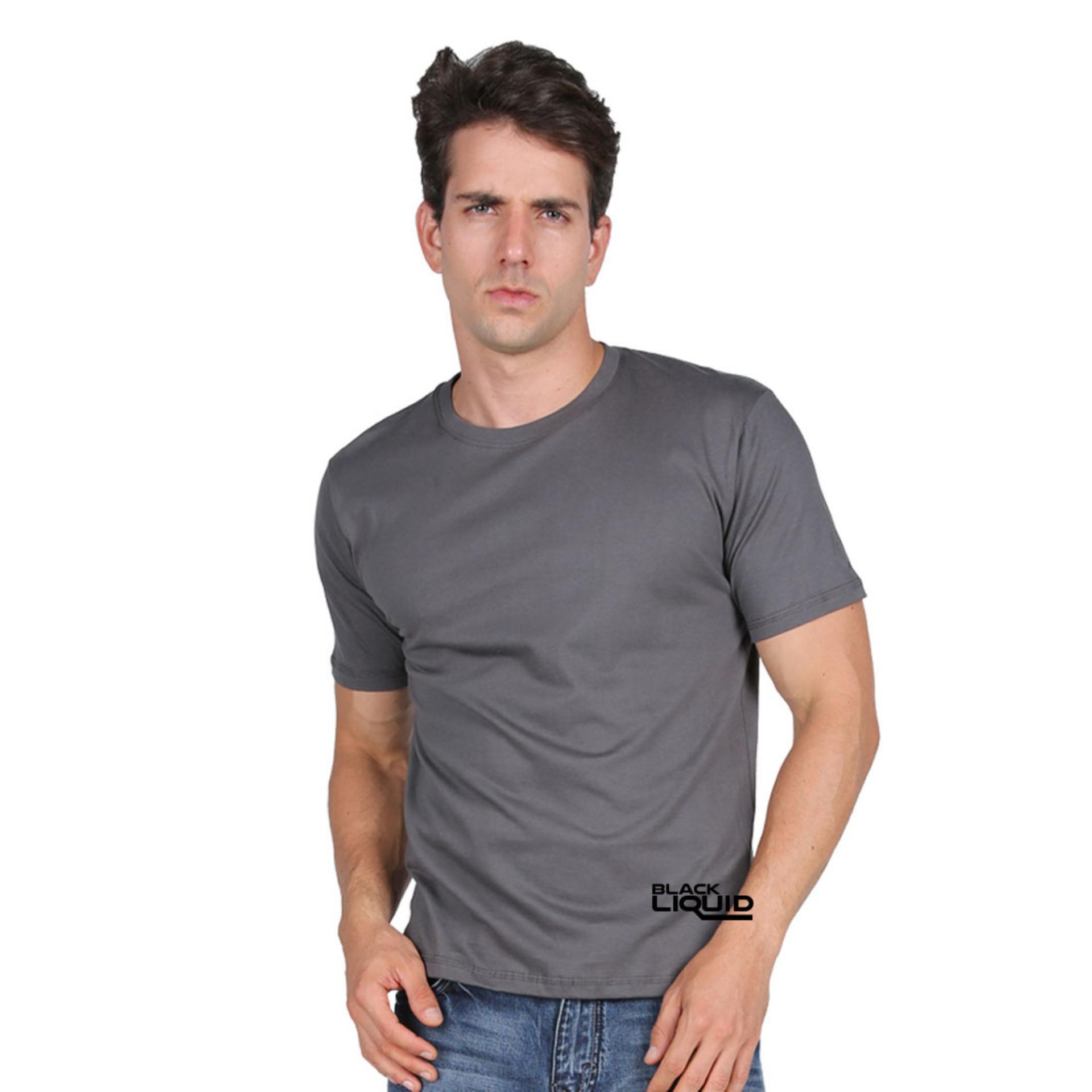 HARGA DISKON Black Liquid Kaos Pria Polos Premium T-Shirt Lengan ... 02c33a8570