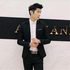 Hitam Jas Pria Slim Suit Jaket Pria Warna Solid Pria Pakaian Kerja dan Kantor Jaket Coat Gaya Korea-Intl