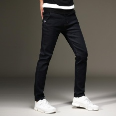 Hitam Pria Skinny Stretch Jeans Panjang Pant Denim Seluar Slim Fit-Intl
