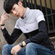 HITAM Musim Semi Musim Gugur Pria Lengan Panjang Kemeja BARU Patchwork Pria Slim Fresh Hand Leisure Shirt-Intl