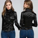 Black White Vintage Style Women Ol Office High Neck Frilly Women Lapel Ruffle Collar Tops Shirt Blouse Intl Asli