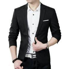 Blazer Jas Pria Cowok Elegan Korea Black Hitam Polos Casual Slim Hug - Beb75b