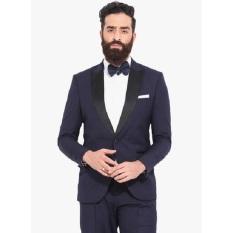 Blazer Pria Jas Slim Fit Kerah Lipat List Hitam Jas Kerja Satu Kancing - Kode : B-036 - ( Biru Dongker )