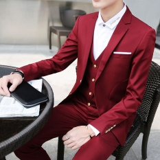 (Blazer + Celana + Rompi) Fashion Pria Suit Shine Patterns Casual Pria Tahap Pakaian Pernikahan Groom Vintage Mens Suits-Intl