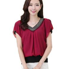 Blus Panas Musim 2016 Baru Berlengan Bang Bang Pendek Kain Tipis Baju Sutera Leher V Bermanik-manik Ukuran Lebih Baik M-4XL Merah-Internasional