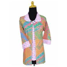 Blouse Bolero Wanita Karier Batik Kawung Pelangi Pink