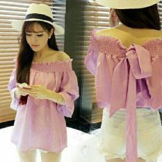 LFS Sabrina Wanita Bahan Katun impor Bangkok / blouse Bahu karet / Blouse Off The Shoulder / Blouse Jalan Jalan ada pita (nali ripest) NR D30 - Pink / top atasan wanita / atasan sabrina / sabrina blouse / blouse wanita D3C