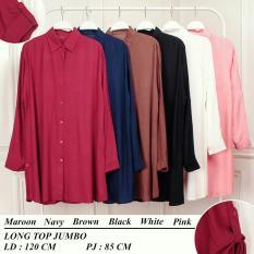 blouse long top jumbo ada kancing didepan baju model terbaru dari toko lunashop