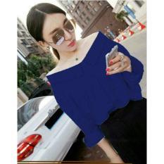 Toko Atasan Wanita Blouse Wanita Plain Off The Shoulders   Blouse Lengan  pendek   Blouse Batwing 1f1f00dd47