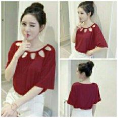 Vanesssa Blouse merah Blouse Lengan terompet ruffle/ Blouse Kotak Polos Cewek / Hem Kemeja Baju Wanita Fashion Bangkok / Blus Korean Style / Blouse Wanita Modern