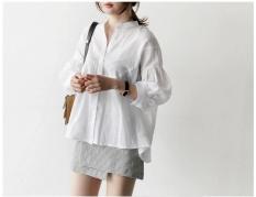 Fashion Baju Blus Wild Sederhana Kerah Putih Liar Kemeja Wanita Longgar Kasual Kemeja Wanita-Intl