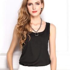 Baju Blus Musim Panas Eropa dan Amerika Candy Warna Shirt Chiffon Shirt dengan Tanpa Lengan Rompi Sifon-Intl