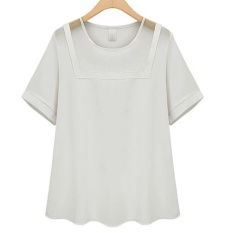 Baju Blus Musim Panas Baru Eropa dan Amerika Wanita Gemuk MM Adalah Tipis Berongga Benang Pendek Lengan Chiffon Shirt- INTL