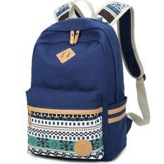Biru Ransel Wanita Etnis untuk Remaja Sekolah Gadis Wanita Cantik Tas Sekolah Ladies Canvas Backpack Wanita Kembali Pack-Intl