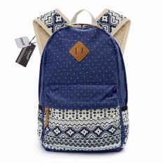 Biru Fashion 1 Pcs Kanvas Tas Sekolah untuk Gadis-gadis Remaja Wanita Tas Bahu Tas Ransel Korea Gaya Preppy Ransel Wanita Cetak -Intl