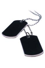 Bluelans® gaya tentara anjing tag rantai kalung pasangan x 2 (Hitam)