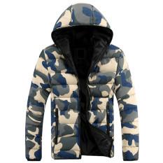 Spek Biru Model Jaket Musim Dingin Pria Turun Ke Bawah Jaket Kamuflase Dicetak Musim Gugur Orang Berkerudung Jaket Kasual Mantel Jas Hujan Kualitas Tinggi Tiongkok