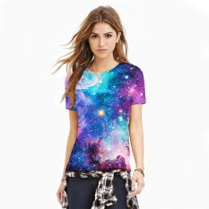 Blue Sky Digital Cetak T-shirt Wanita Lengan Lengan Pendek Leher Bulat Kaos-International