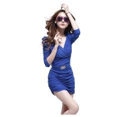 Jual Blue Women Casual Autumn Gaun Solid Vestidos Murni Warna Gaun Close Fitting Slim Tunic Gaun Leher V Untuk Pesta Klub Malam Fashion S*xy Intl Murah