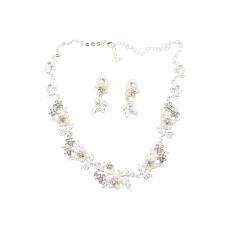 Bluelans®Bridal Floral Mutiara Kalung Berlian Imitasi Anting Silver