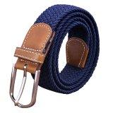 Beli Dasi Kupu Kupu Bluelans Untuk Pria Wanita Kanvas Anyaman Polos Buckle Woven Peregangan Pinggang Belt Strap Navy Biru Pakai Kartu Kredit