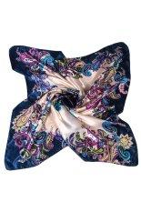 Bluelans® Wanita Syal Persegi Bercat Bunga Satin Sutra Tiruan Kepala Leher Selendang Biru Tua, Coklat