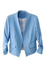 Bluelans® Wanita Mode Korea Solid Slim Suit Blazer Jaket Mantel Biru