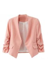 Bluelans® Wanita Mode Korea Solid Slim Suit Blazer Coat Jaket Pink
