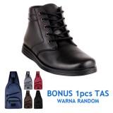 Toko Jual Blues Footwear Sepatu Pria Semi Boot 01 Hitam Bonus Tas